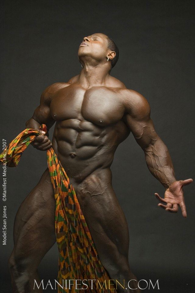 Body builder Sean Jones, naked with just a cloth in front of his dick title=