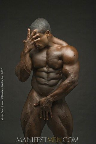 Perfect bodybuilder body - naked with his hand in front of his dick title=