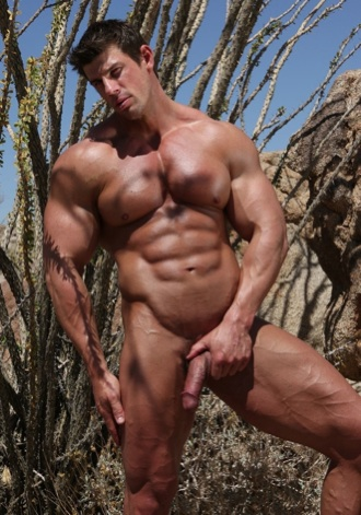 Sexy bodybuilder Zeb Atlas holds his muscle cock outside