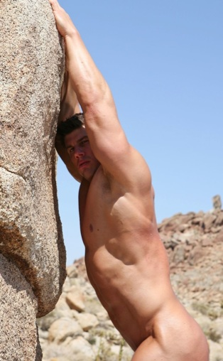 Sexy body builder Zeb Atlas showing off his muscular body in the desert