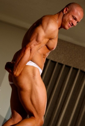 Muscular bodybuilder Kyle Stevens in his underwear