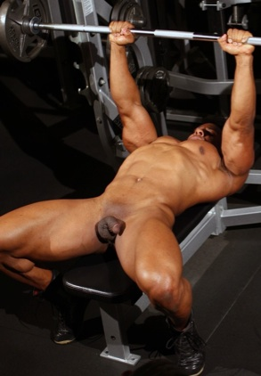 Black body builder pumping iron naked