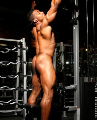 Ripped bodybuilder Alan Demond working out naked