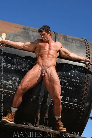 hot hunky bodybuilder Zeb Atlas stretches his muscular body