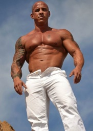 Hot inked bodybuilder VIn Marco shirtless outside