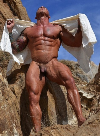 Vin naked outside in the desert