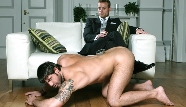 Neil Stevens uses Axel Brooks as a naked human coffee table