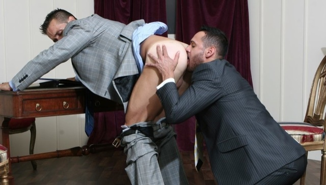 Hugo Martin bent over getting his smooth hole worked over by Marco Wilson