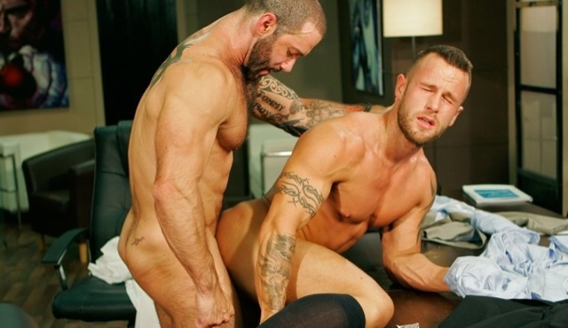 Inked jock Ben Brown getting his ass nailed by Junior Stellano
