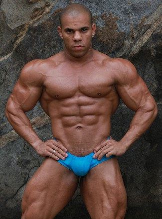 Hot ripped, dark skinned bodybuilder with washboard abs