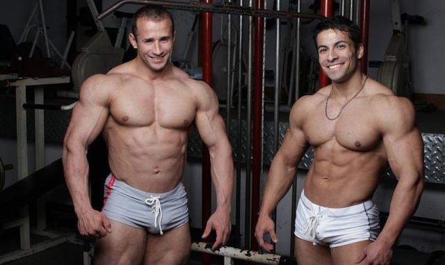 Hot young bodybuilders in the gym