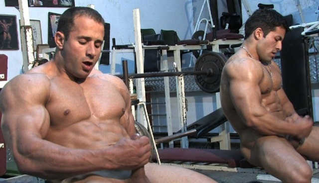 Hot young muscle studs jerking off together