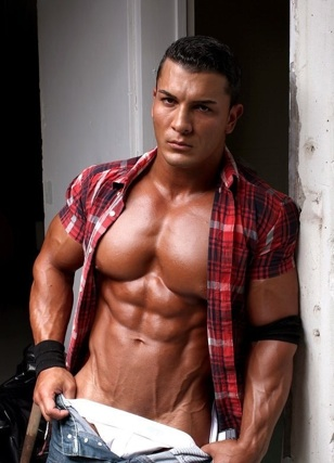 Omar Fabrouk's huge chest and ripped abs