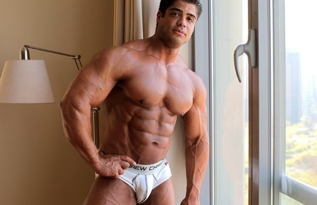 Beefy bodybuilder in his underwear
