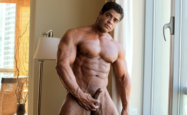 Brutus Difino naked stroking his cock
