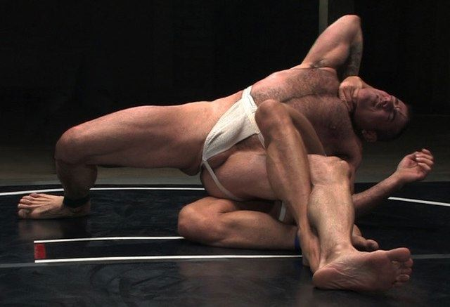Hairy guy wrestling in his jockstrap