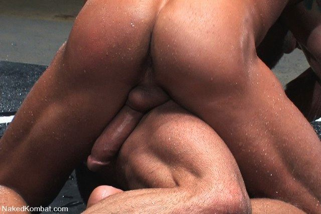 Big meaty cock out and hard during a wrestling match