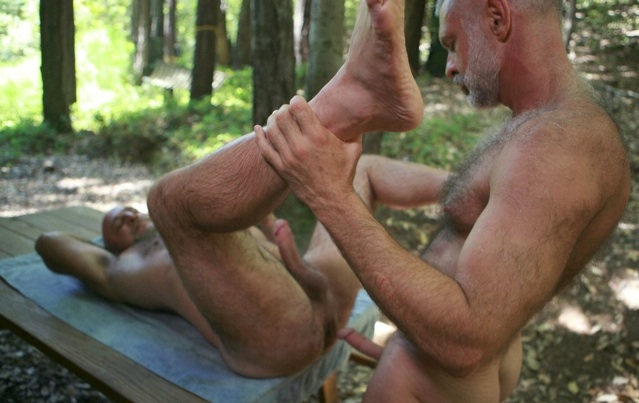 Hairy bear ready to take raw dick in the woods