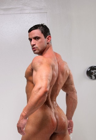 Macho Nacho shows off his smooth bubble butt in the shower