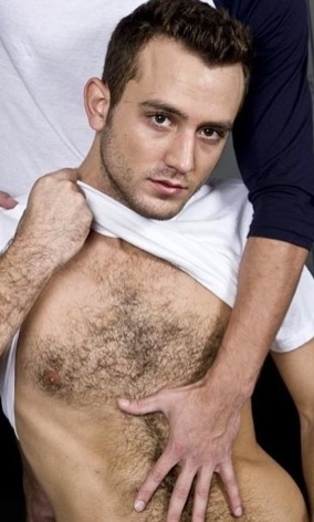 Hairy chested guy gets rubbed by a smooth twink