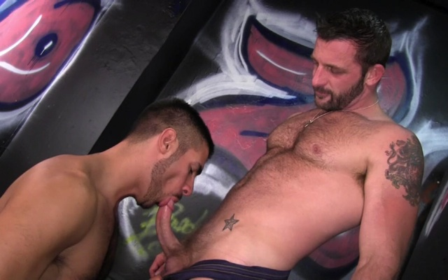 Nick Andrews working the head of Morgan's hard cock