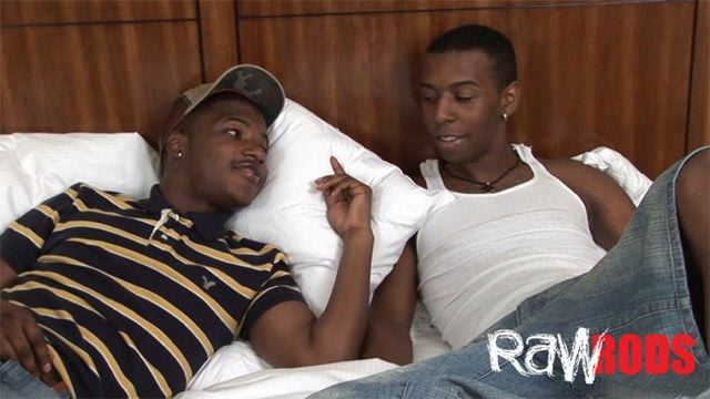 Two cutie black guys haning out in bed