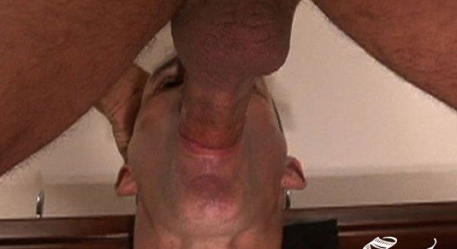 Guy's mouth plugged with cock