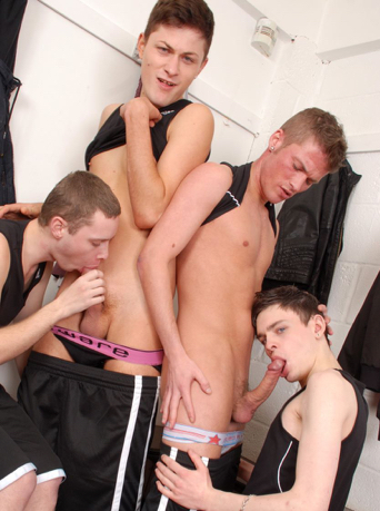 Young team members giving each other blowjobs