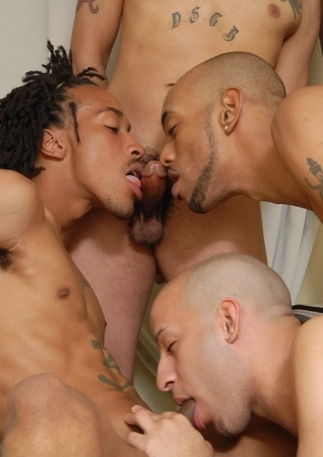 Three young black thugs sucking cock