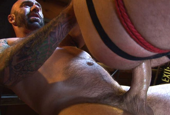 Masculine top fucks a bottom with a huge cock
