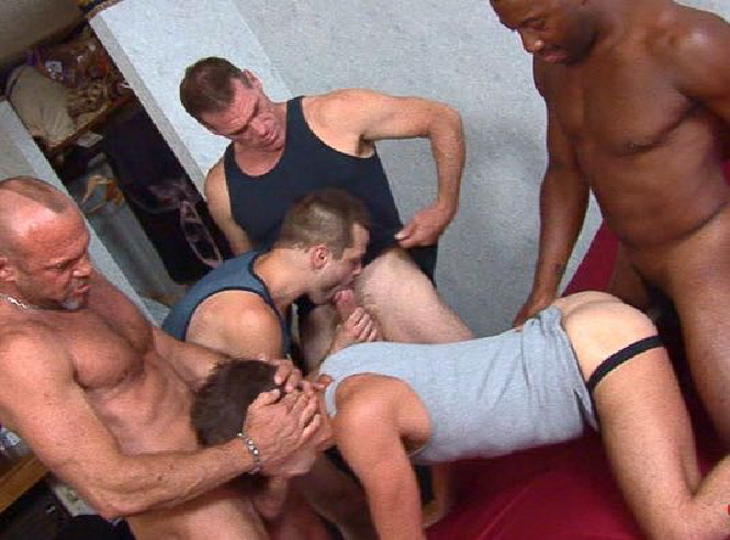 5 guy orgy with guys sucking and fucking