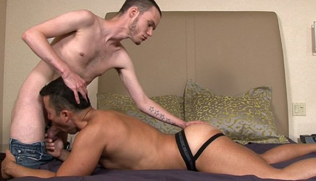 Trevor Snow plays with Dominik Rider's ass as he gets a blowjob