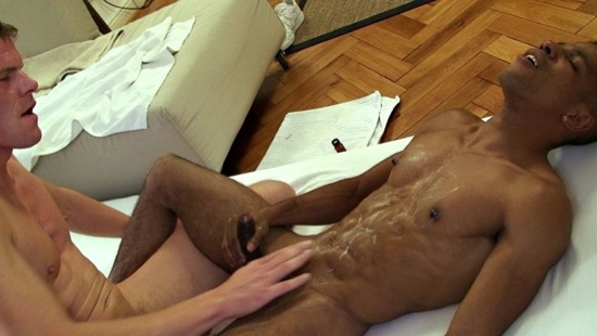 Gerald Fabiani's tight muscle body covered in hot cum
