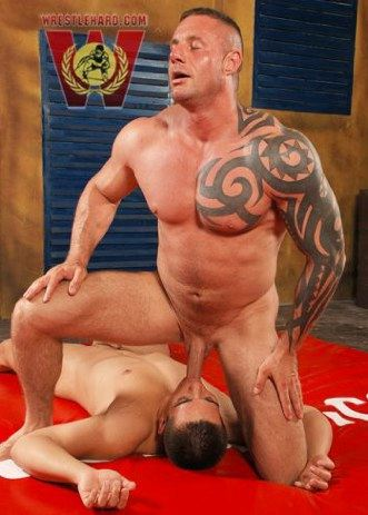 Big beefy muscle daddy feeds his cock to a smooth submissive bottom