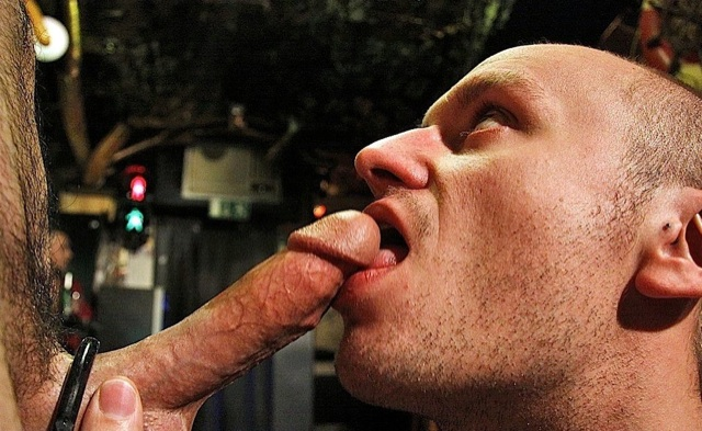 Ken Taylor licks the head of Jake's cock