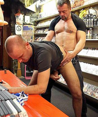 Beefy daddy Mauri fucks Ken in the sex shop