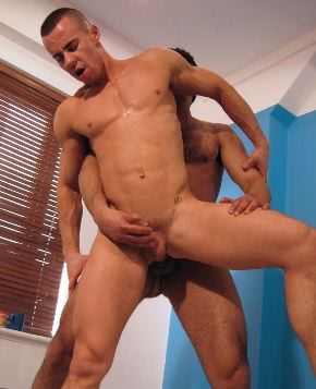 Lean ripped muscle bottom getting his dick jacked as he gets fucked