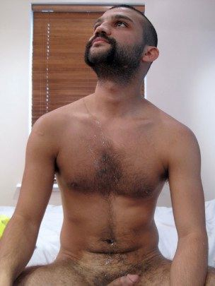 Hot hairy cub with huge load of cum on his chest