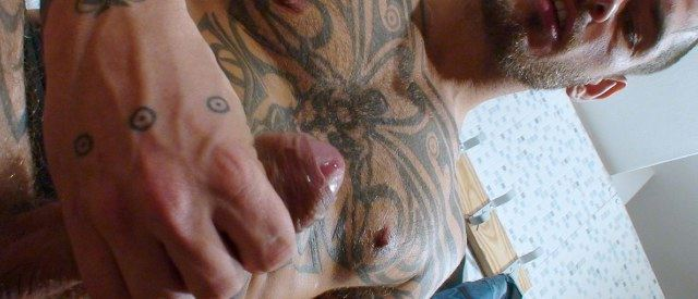 Logan's uncut dick about to shoot a load