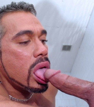 Silver haired Tony Serrano licks Jacobs cock head