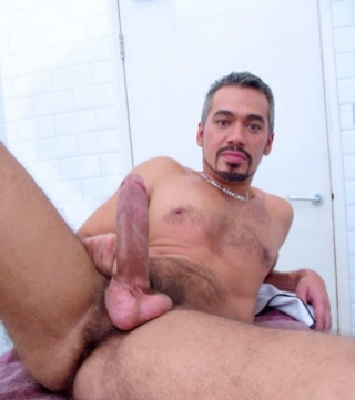 Silver haired Tony shows off his hard cock