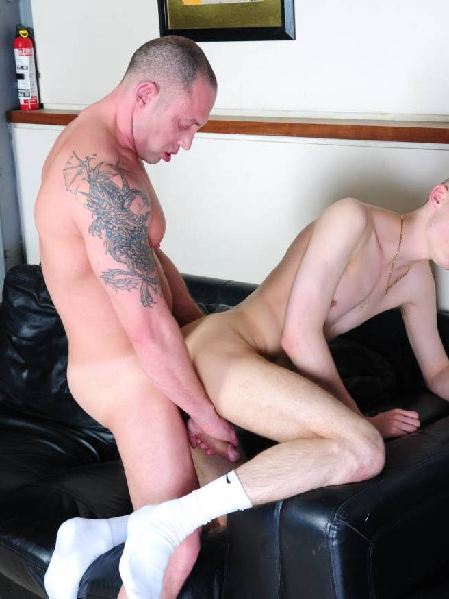 duke strokes thierry\'s cock while fucking him on the cough