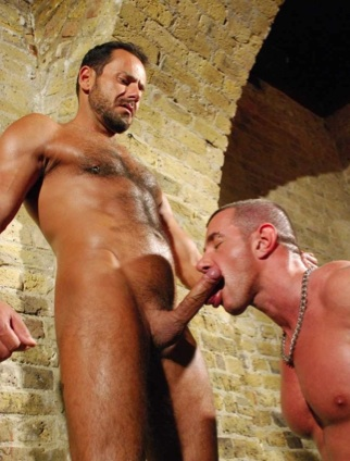 Hairy Daddy Jason Torres getting his hard cock sucked by Marius Mugler