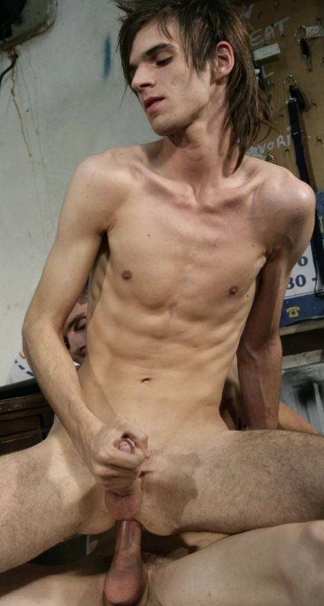 Smooth skinny emo guy with hairy legs rides a hard raw dick