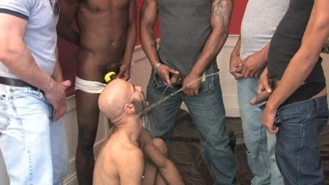 5 guys unload their warm piss on a willing pig