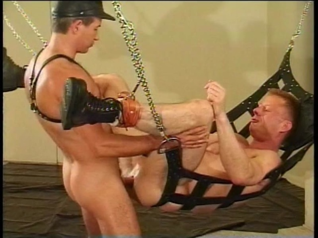 Leather top raw fucking a guy in a sling