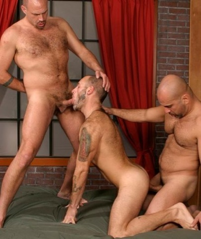 Tattooed hairy Bud Allen getting fucked by Sky Fairmont and sucking Patrick Ives