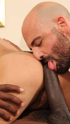 Adam Russo licks a huge black cock that's about to fuck a smooth ass