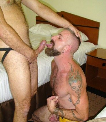 Tattooed punk Jake on his kneed forced to suck dick