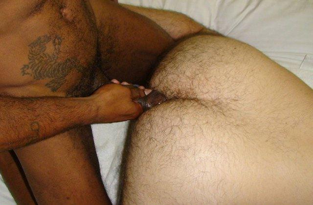 Raw black cock fucking hairy white ass